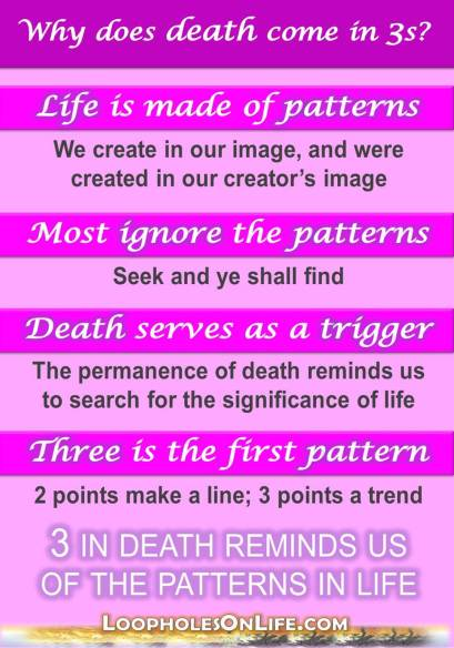 Death comes in threes; because creation comes in patterns.